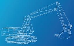 Veículo da máquina da construção excavator Formato EPS10 Vetor criado de 3d ilustração stock