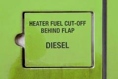 Veículo diesel com interrupção do combustível do calefator atrás da aleta para a segurança fotos de stock royalty free