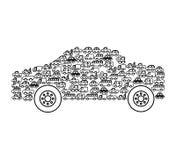 Veículo do carro com silhueta dos veículos ilustração royalty free