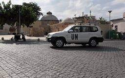 Veículo do UN acima da beira em Nicosia, Chipre foto de stock royalty free