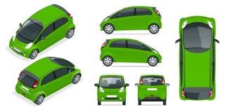 Veículo elétrico compacto pequeno ou carro híbrido automóvel Eco-amigável da olá!-tecnologia Mudança fácil da cor Vetor do molde  ilustração stock