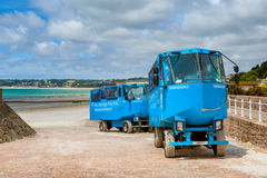 Veículos anfíbios na praia de St Helier, jérsei, ilhas channel, Reino Unido Fotos de Stock Royalty Free