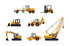 Veículos da construção - grupo moderno do ícone do vetor ilustração do vetor