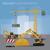 Veículos da construção no local ilustração do vetor