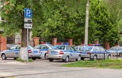 Veículos da patrulha do russo da fiscalização do automóvel do estado sobre Fotos de Stock Royalty Free