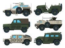 Veículos de exército ajustados Ilustrações coloridas do vetor ilustração stock