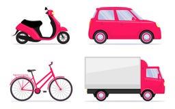 Veículos diferentes, grupo Carro, bicicleta, bicicleta, 'trotinette', bicicleta motorizada, caminhão Transporte ícones Ilustração ilustração do vetor