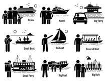 Veículos do transporte do mar da água e povos Clipart ajustado ilustração do vetor