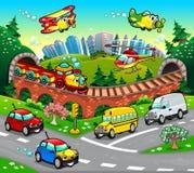 Veículos engraçados na cidade. ilustração stock