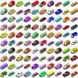 Veículos isométricos do vetor dos ícones 3D do jogo dos carros ilustração do vetor