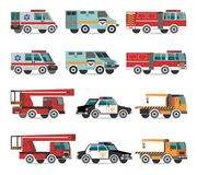 Veículos lisos da emergência ilustração stock
