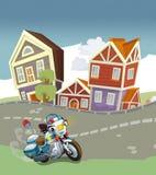 Veículos na estrada - caricatura do velomotor ilustração stock