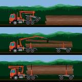 Veículos para o transporte da madeira ilustração stock