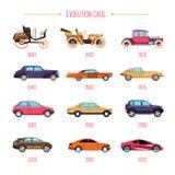 Veículos retros da evolução dos carros e transporte moderno modelos isolados ilustração royalty free