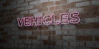 VEÍCULOS - Sinal de néon de incandescência na parede da alvenaria - 3D rendeu a ilustração conservada em estoque livre dos direit ilustração stock