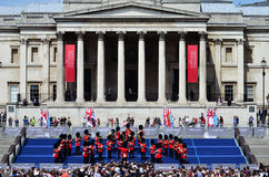 VE Day , Trafalgar Square. London, UK - Sunday 10th May 2015: music performance by the Band of the Grenadier Guards marking the 70th anniversary of VE Day Royalty Free Stock Photo