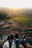 Shoes in a hill, couple Royalty Free Stock Image