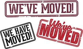 We`ve Moved Relocation Rubber Stamps Royalty Free Stock Photo