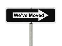 We've Moved Sign. Words we've moved on a one way sign isolated in white Royalty Free Stock Photography