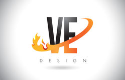 VE V E Letter Logo with Fire Flames Design and Orange Swoosh. VE V E Letter Logo Design with Fire Flames and Orange Swoosh Vector Illustration Royalty Free Stock Photo