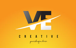 VE V E Letter Modern Logo Design with Yellow Background and Swoo Royalty Free Stock Photography