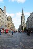Vea abajo de la milla real histórica, Edimburgo, Escocia, junio de 2015 Foto de archivo libre de regalías