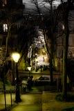 Vea abajo de pasos escarpados en una ladera en una ciudad Foto de archivo