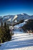 Vea abajo de una cuesta nevosa del esquí en valle alpino de la montaña Foto de archivo