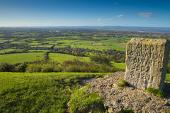 Vea de la loma Somerset de Brent a las colinas de Quantock Foto de archivo