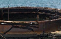 Vea dentro del ` s de la torrecilla del aceite de USS Arizona Foto de archivo libre de regalías