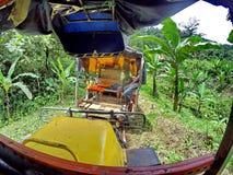 Vea hacia fuera el frente de un vehículo hecho en casa en pistas de ferrocarril abandonadas en la selva fotos de archivo libres de regalías