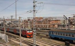 Vea la estación de tren en la ciudad de Kazán Rusia imagen de archivo libre de regalías