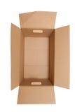 Vea la mirada abajo en una caja de cartón marrón Fotografía de archivo