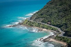 Vea la mirada abajo sobre el gran camino del océano Fotografía de archivo libre de regalías