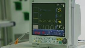 Vea la supervisión de la condición paciente del ` s, muestras vitales en monitor de ICU en hospital metrajes