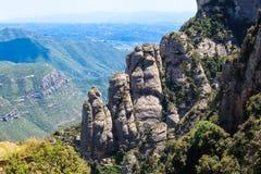 Vea la vista de las montañas deliciosas Montserrat, Cataluña, España Fotos de archivo libres de regalías