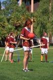 Quidditch: Cazador que sostiene una bola   Foto de archivo