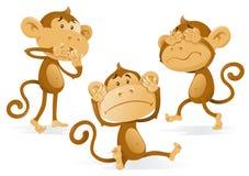 Vea para oír para no hablar ningún mono del mal Foto de archivo libre de regalías
