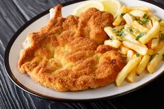 Veal alla Milanese cotoletta alla milanese with French fries c. Lose-up on a plate on a table. Horizontal royalty free stock images