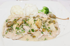 Veal with Artichoke Hearts Royalty Free Stock Photography