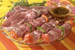 Veal with beef kebabs. Raw veal and beef kebabs ready to cook Royalty Free Stock Photo