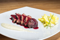 Veal cheek with balsamic Royalty Free Stock Photography