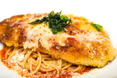 Veal or Chicken Parmigiana. With Pasta Royalty Free Stock Photo