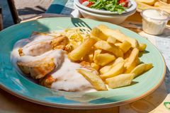 Veal with cream sauce, fries and salad Stock Photography