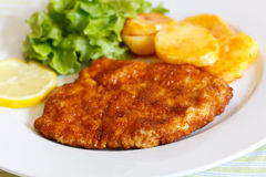 Veal Cutlet- Schnitzel - with Lettuce Stock Photography