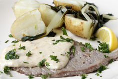 Veal escalope with gravy and potatoes Royalty Free Stock Photo