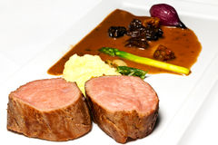 Veal fillet. Brissel with white truffle and shimejii Stock Image