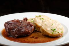 Veal fillet with rich sauce and bread dumplings Royalty Free Stock Photos