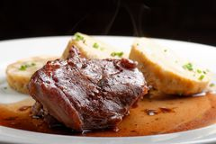 Veal fillet with rich sauce and bread dumplings Stock Photos