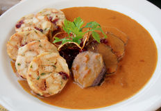 Veal fillet with rich sauce and dumplings Stock Photos